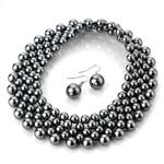 Graphite Faux Pearl Choker & Earring Set
